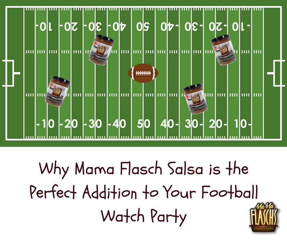 Salsa jars playing football on football field with mama flasch logo